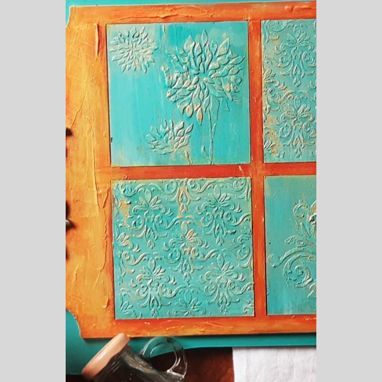 Teal orange vintage gold tray