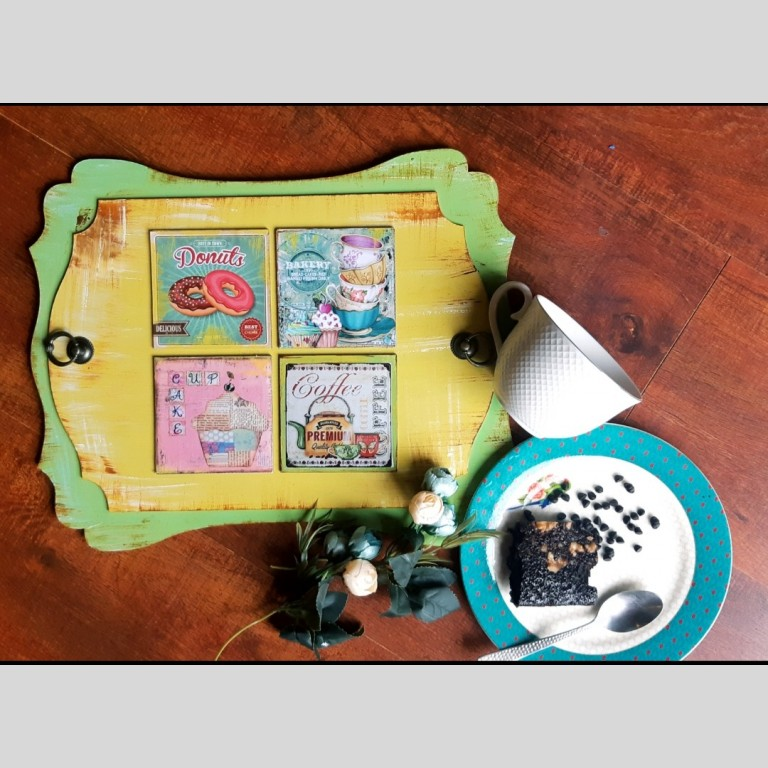 Lime green quirky vintage tray
