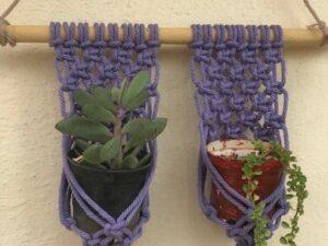 Purple Macrame Pot Holder