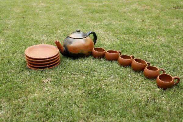 Terracotta Designer Tea Set Double Baked