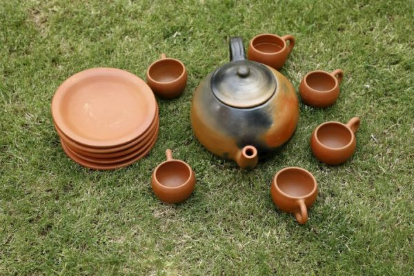 Terracotta Designer Tea Set-Double Baked
