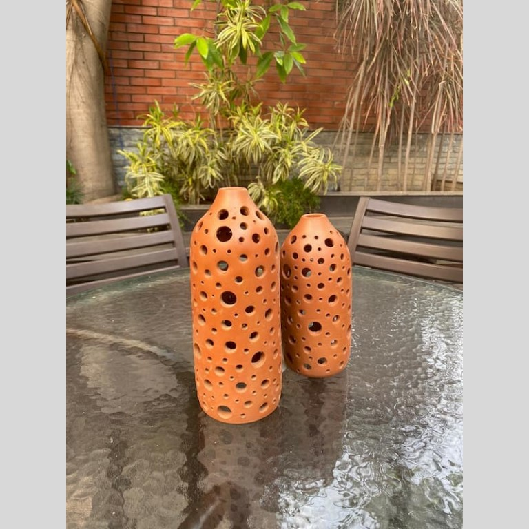 Terracotta Perforated Candle Light Holder