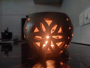 Terracotta Double Baked Tea Light Candle Holder