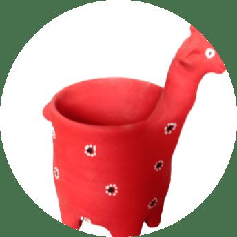 Blooming Rose Giraffe Flower Pot