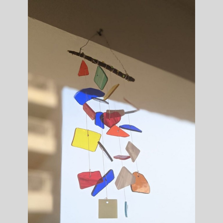 Stained Glass Rainbow Windchime   Stained Glass Rainbow Windchime  