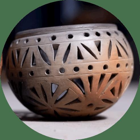 Double Baked Terracotta Tea Light Candle Holder