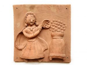 Woman Filling Container Terracotta Plaque