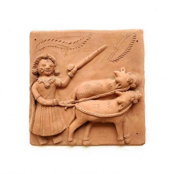 Woman Pasturing Cow Terracotta Plaque | Woman Pasturing Cow Terracotta Plaque |