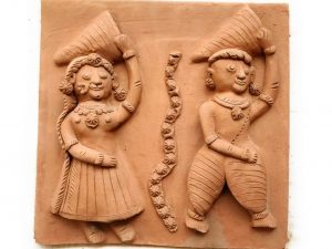 Villager Man and Woman Terracotta Plaque