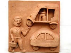 Man Leaving For Office Terracotta Plaque