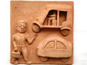 Man Leaving For Office Terracotta Plaque