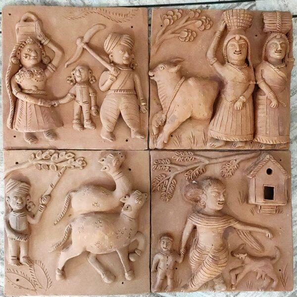 Molela Terracotta Plaque (Set of Four)   Molela Terracotta Plaque  