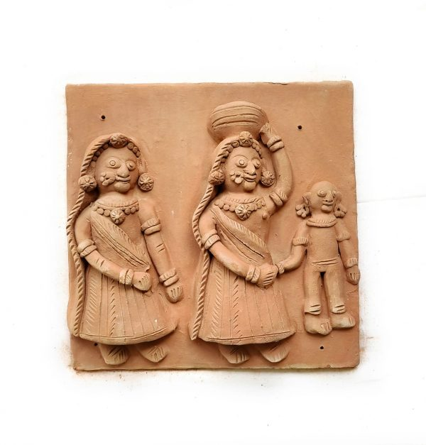 Krishna Gav Terracotta Plaque (Set of Four)