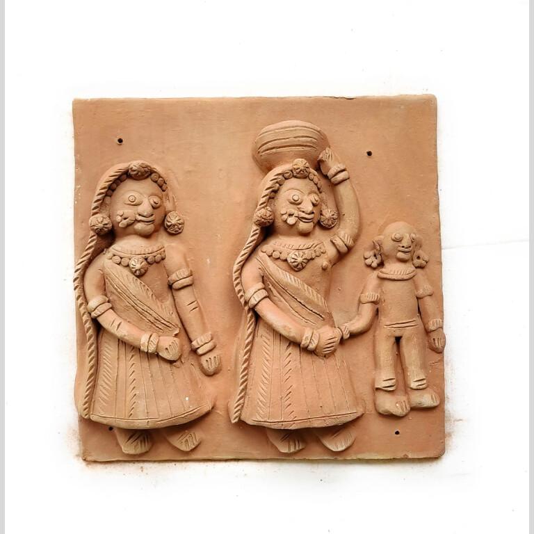 Krishna Gav Terracotta Plaque (Set of Four)