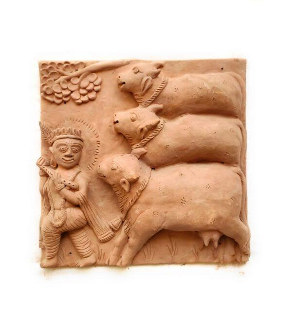 Krishna Terracotta Plaque (Set of Four) | Krishna Terracotta Plaque |
