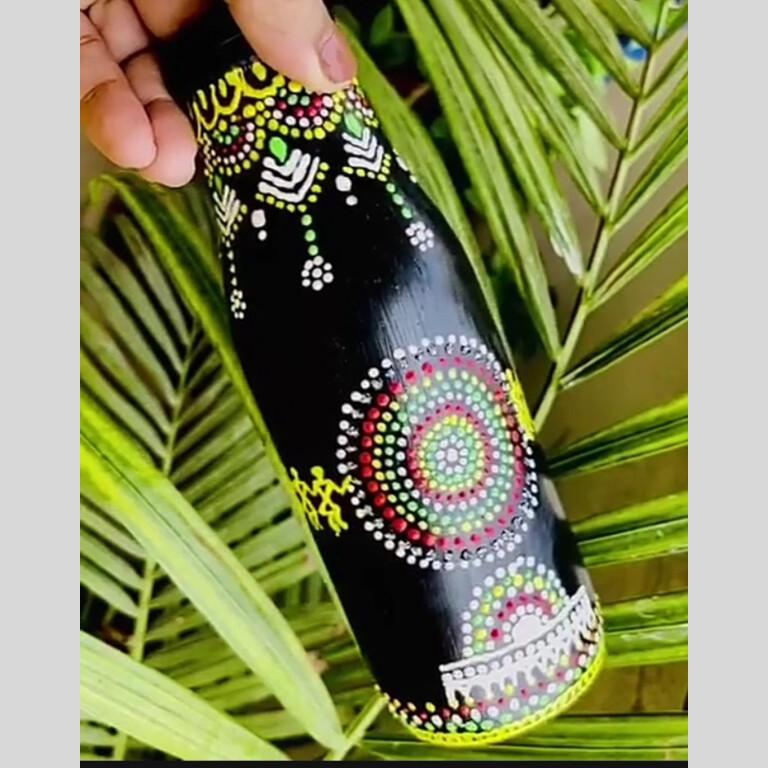 Bottle vase / holder - for flower or stationary - home décor   Dot Mandala  