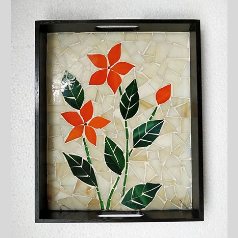 Floral Stained Glass Mosaic Tray | Floral Stained Tray |