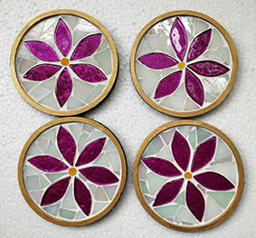 Floral Coasters Set of 4   Floral Coasters  