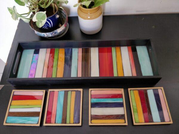 Retro tray and coaster set | Retro tray and coaster set |