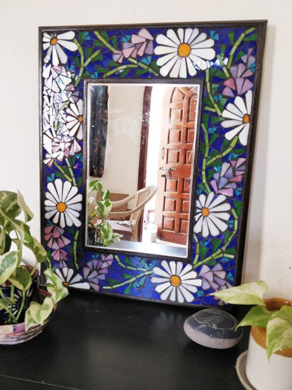 Floral Stained Glass Mirror