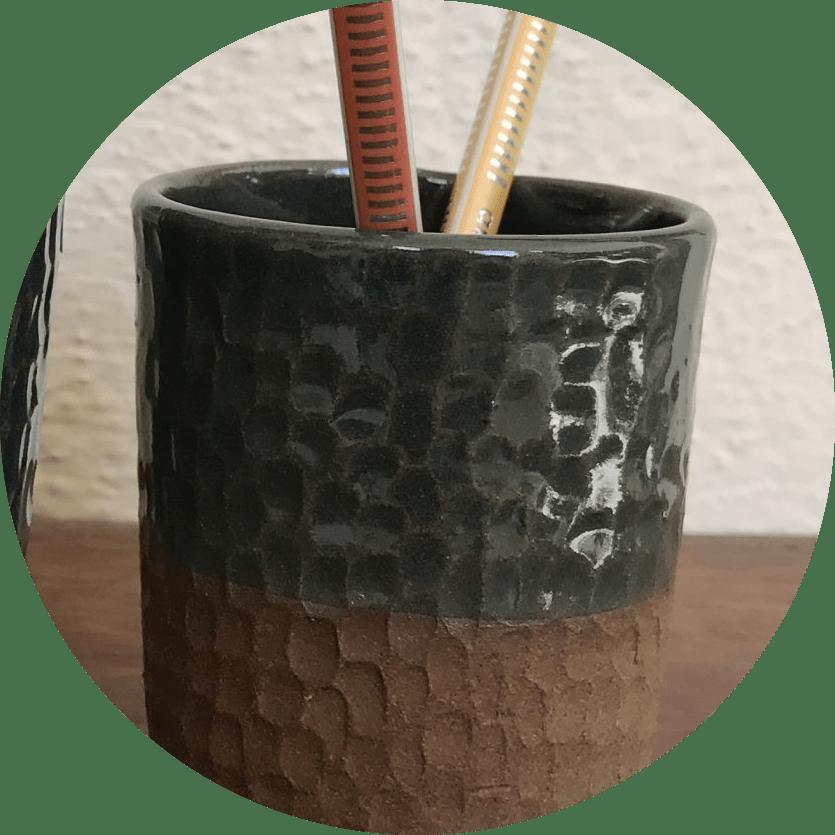 Handcrafted Green Ceramic Pen Holder