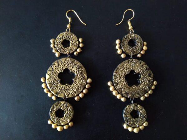 Black Meets Golden Terracotta Big Earrings