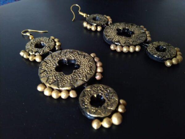 Black Meets Golden Terracotta Big Earrings | Black Meets Golden Terracotta Big Earrings |