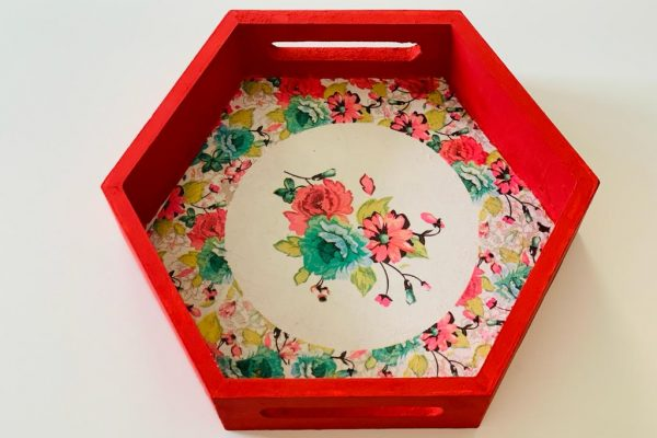Hexagon Floral Serving Tray |