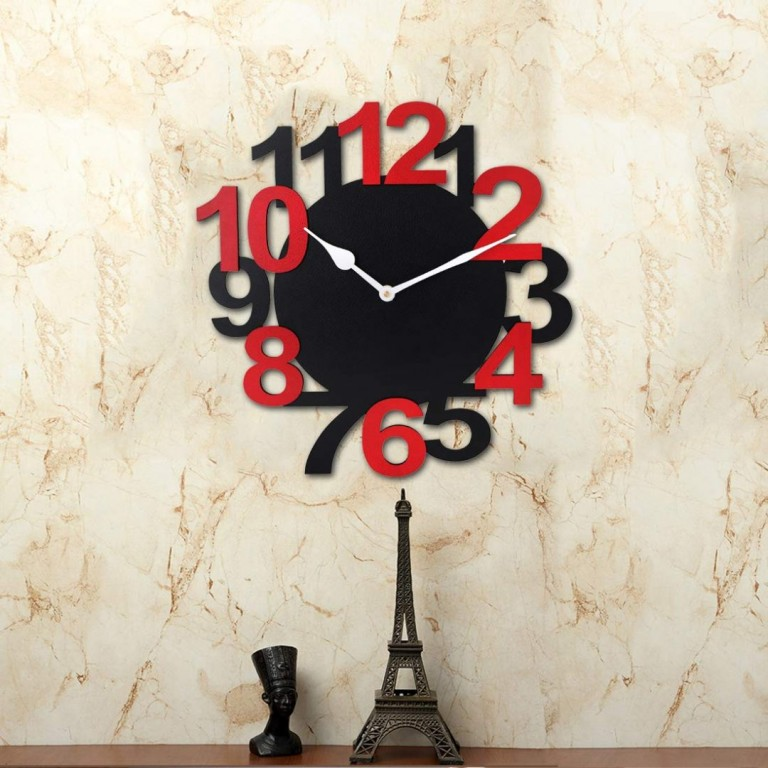 Big Number Black and Red Wall Clock Non Ticking Silent | clock Non Ticking Silent |