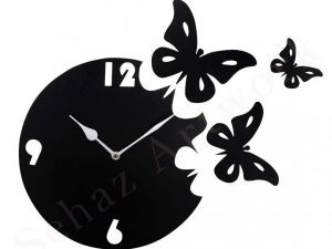 Black Moon Butterfly Designer Wall Clock