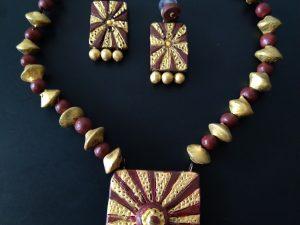 Golden With Brown Terracotta Clay Neckset
