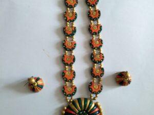 Handmade Clay Orange Necklace Set