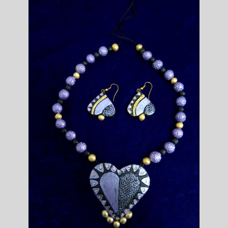 Heart Shaped Terracotta Necklace Set