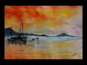 Warm Evening Seascape Painting