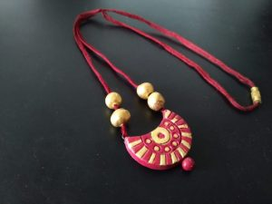 Red Half Moon Clay Pendant
