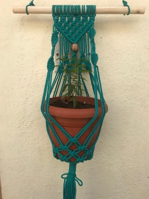 Macrame Green Pot Holder