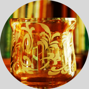 Orange Etched Candle Vase