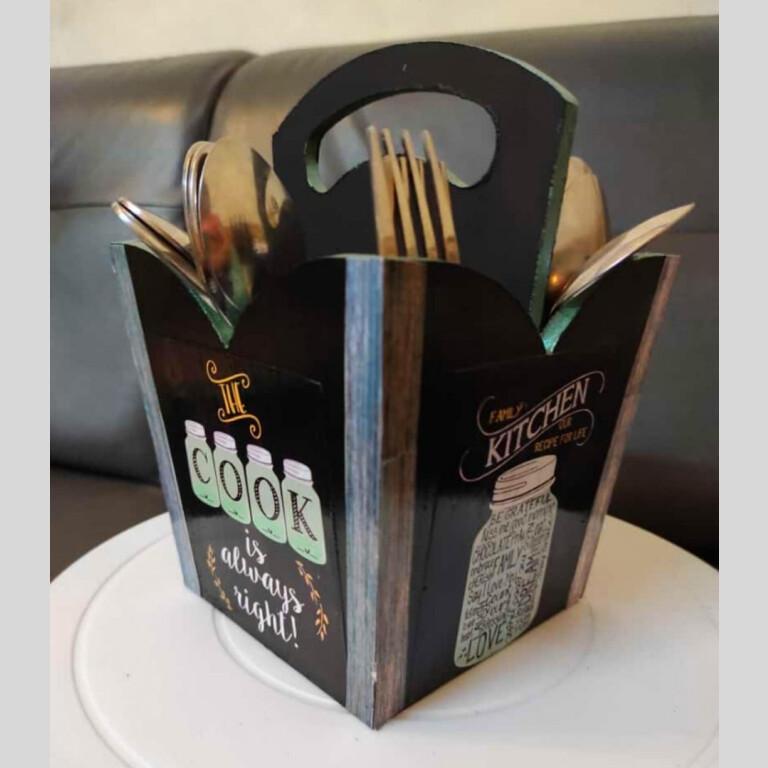 Black Cutlery Holder  
