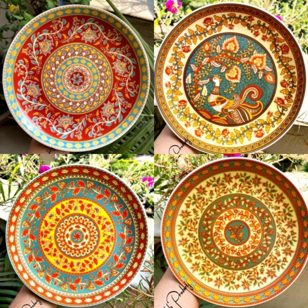 Mandala Wall hanging- Set of 4 - scratch free plates. | Mandala Clay Pot |