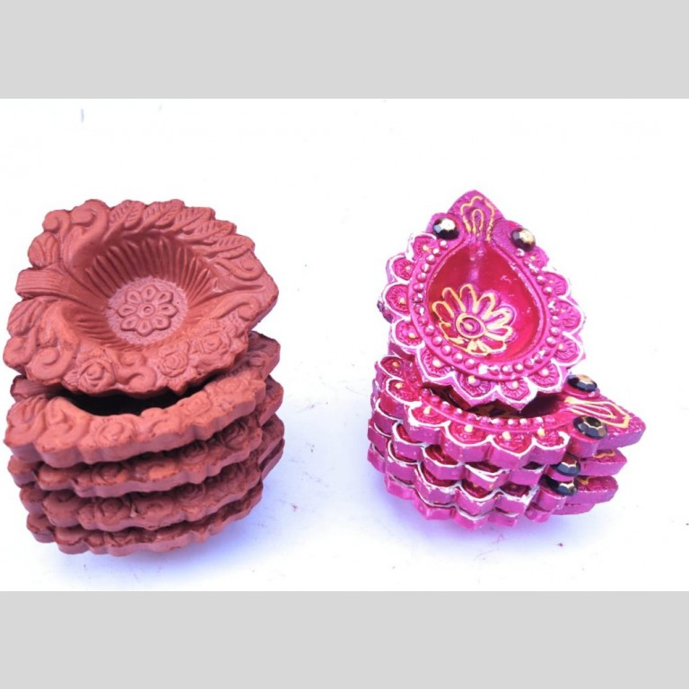 Hand Painted Terracotta Clay Diyas - Set Of 10 |