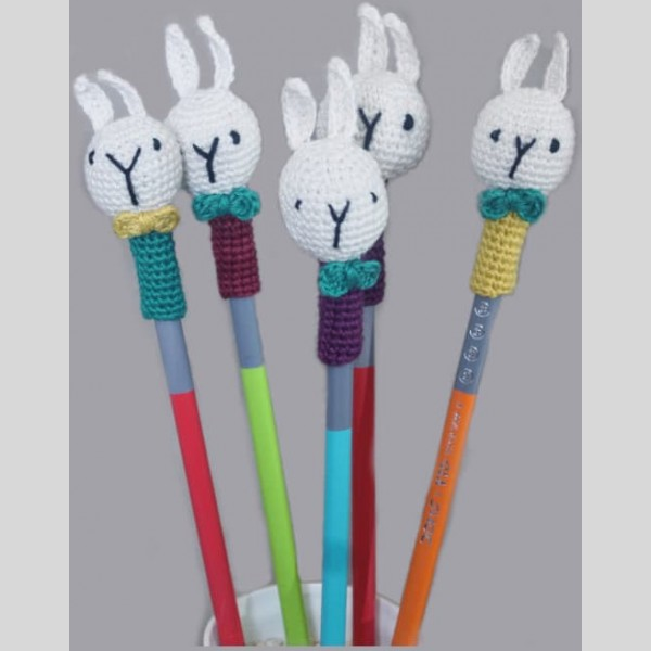 Amigurumi Pencil Topper Random Colour Bunny Set of 6 | Amigurumi Pencil Topper Random Colour Bunny Set |