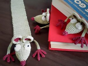 Handcrafted Amigurumi Rat Bookmark 1 (1)Handcrafted Amigurumi Rat Bookmark