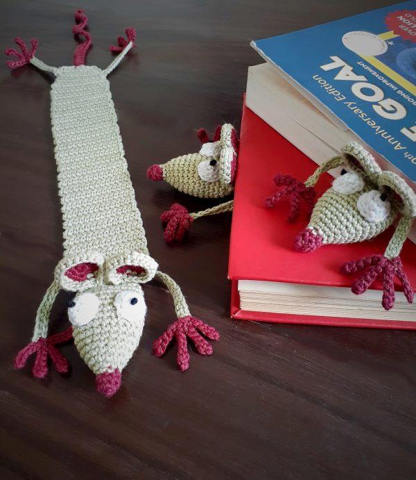 Handcrafted Amigurumi Rat Bookmark 1 (1)Handcrafted Amigurumi Rat Bookmark