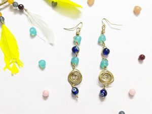 Boho Blue Bead Earrings