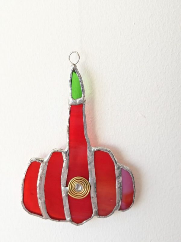 Stained Glass Middle Finger Hanging
