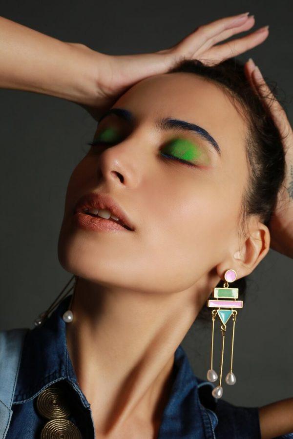 Handpainted Neon Colourblocked Earrings with dangling Pearls | Meenakari Jhumka |