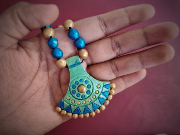 Ornate Terracotta Necklace Set With Earrings | Ornate Terracotta Necklace Set With Earrings |