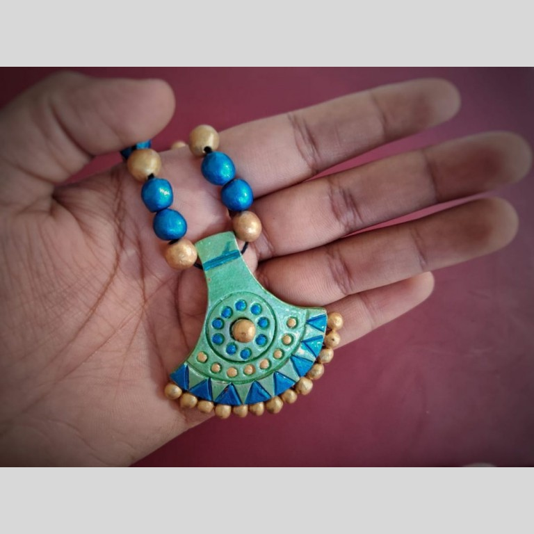 Ornate Terracotta Necklace Set With Earrings   Ornate Terracotta Necklace Set With Earrings  