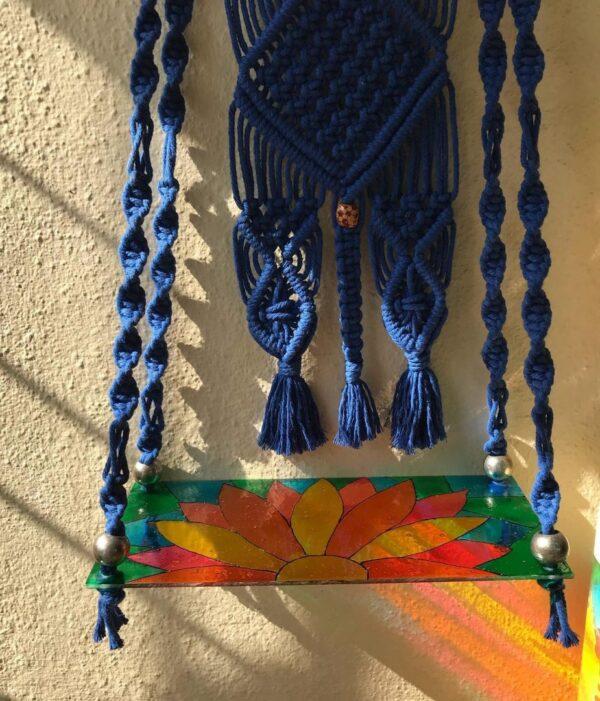 Handmade Macrame Hanging Shelf With Acrylic Glass Painted Sheet | Handmade Macrame Hanging Shelf |
