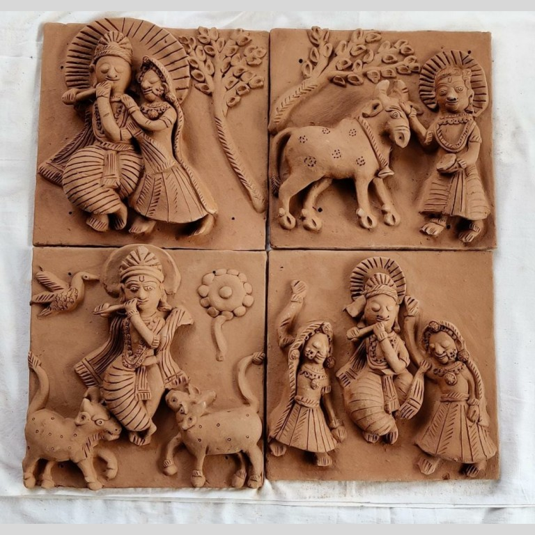 Tales of Krishna Clay Plaques